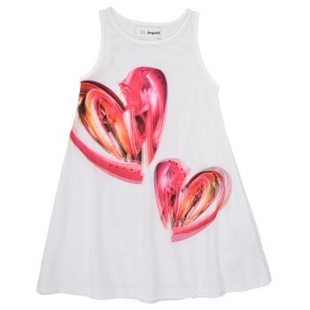 Oblečenie Dievčatá Krátke šaty Desigual 21SGVK12-1000 Biela