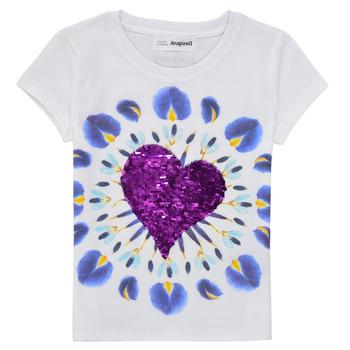 Oblečenie Dievčatá Tričká s krátkym rukávom Desigual 21SGTK45-1000 Biela