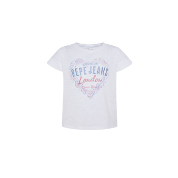 Oblečenie Dievčatá Tričká s krátkym rukávom Pepe jeans PIPER Biela