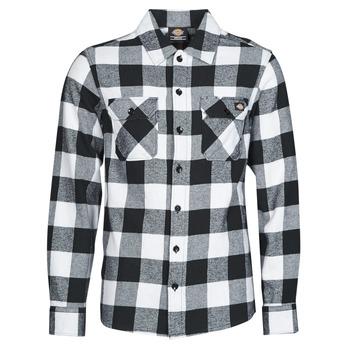 Oblečenie Muži Košele s dlhým rukávom Dickies NEW SACRAMENTO SHIRT BLACK Čierna / Biela