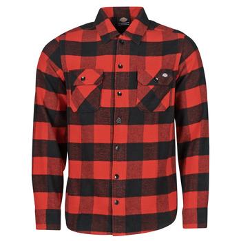 Oblečenie Muži Košele s dlhým rukávom Dickies NEW SACRAMENTO SHIRT RED Červená / Čierna