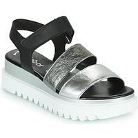 Topánky Ženy Sandále Gabor 6461061 Čierna / Biela / Strieborná