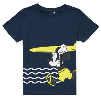 Oblečenie Chlapci Tričká s krátkym rukávom Name it NMMMICKEY Námornícka modrá