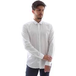 Oblečenie Muži Košele s dlhým rukávom Gmf FS15 961138/1 Biely