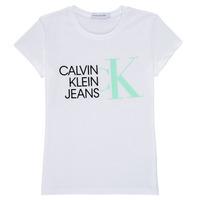 Oblečenie Dievčatá Tričká s krátkym rukávom Calvin Klein Jeans HYBRID LOGO SLIM T-SHIRT Biela