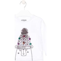 Oblečenie Deti Tričká s dlhým rukávom Losan 026-1007AL Biely
