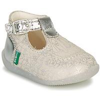 Topánky Dievčatá Balerínky a babies Kickers BONBEK-2 Strieborná