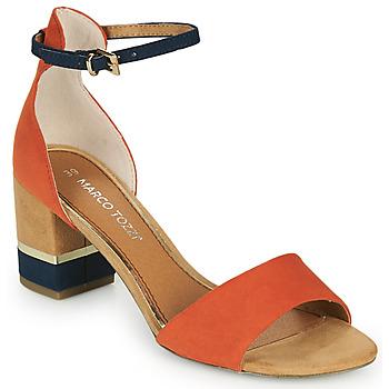 Topánky Ženy Sandále Marco Tozzi TERRA Oranžová / Námornícka modrá / Béžová