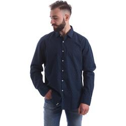 Oblečenie Muži Košele s dlhým rukávom Gmf 962157/06 Modrá