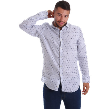 Oblečenie Muži Košele s dlhým rukávom Gmf 971312/01 Modrá