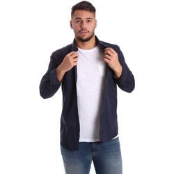 Oblečenie Muži Košele s dlhým rukávom Antony Morato MMSL00408 FA400047 Modrá