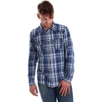 Oblečenie Muži Košele s dlhým rukávom Gaudi 721BU46008 Modrá