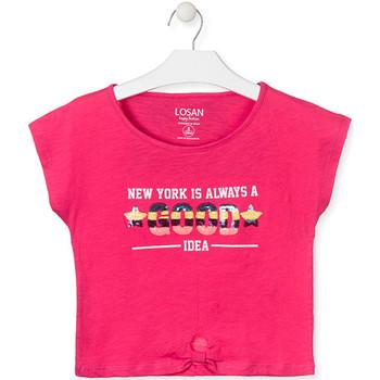 Oblečenie Dievčatá Tričká s krátkym rukávom Losan 014-1025AL Ružová