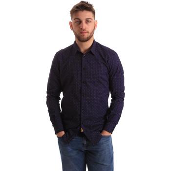 Oblečenie Muži Košele s dlhým rukávom Gaudi 821BU45012 Modrá
