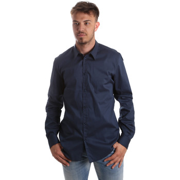 Oblečenie Muži Košele s dlhým rukávom Gaudi 921FU45014 Modrá