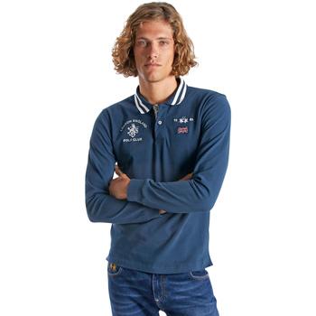 Oblečenie Muži Polokošele s dlhým rukávom La Martina OMP325 JS005 Modrá