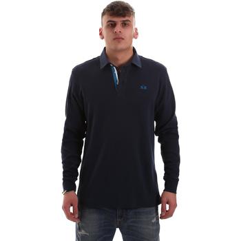 Oblečenie Muži Polokošele s dlhým rukávom La Martina OMP007 JS169 Modrá