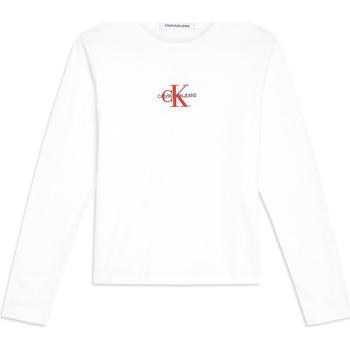 Oblečenie Ženy Tričká s dlhým rukávom Calvin Klein Jeans J20J211804 Biely
