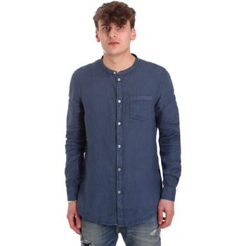 Oblečenie Muži Košele s dlhým rukávom Gaudi 011BU45001 Modrá