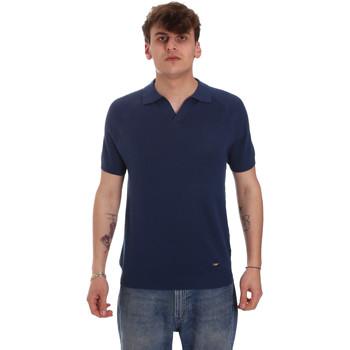 Oblečenie Muži Polokošele s dlhým rukávom Gaudi 011BU53010 Modrá