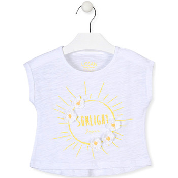 Oblečenie Dievčatá Tričká s krátkym rukávom Losan 016-1006AL Biely