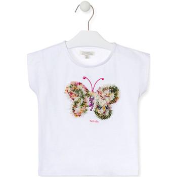Oblečenie Dievčatá Tričká s krátkym rukávom Losan 016-1790AL Biely