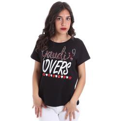 Oblečenie Ženy Tričká s krátkym rukávom Gaudi 011BD64008 čierna