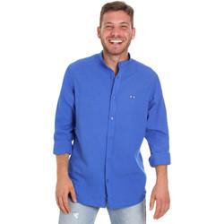 Oblečenie Muži Košele s dlhým rukávom Les Copains 9U2722 Modrá