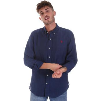 Oblečenie Muži Košele s dlhým rukávom U.S Polo Assn. 58574 50816 Modrá