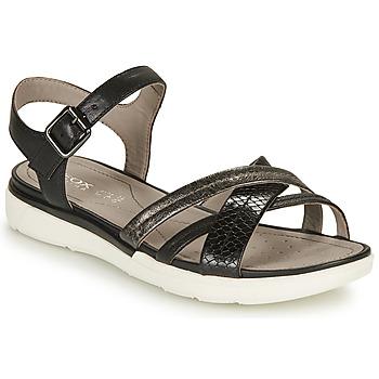 Topánky Ženy Sandále Geox D SANDAL HIVER A Čierna / Strieborná