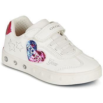 Topánky Dievčatá Nízke tenisky Geox SKYLIN GIRL Biela / Čierna / Ružová