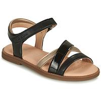 Topánky Dievčatá Sandále Geox SANDAL KARLY GIRL Čierna / Zlatá