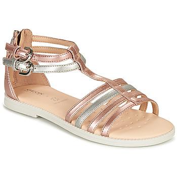 Topánky Dievčatá Sandále Geox J SANDAL KARLY GIRL Ružová / Strieborná