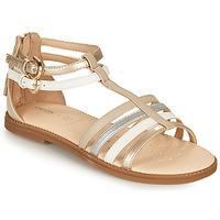 Topánky Dievčatá Sandále Geox J SANDAL KARLY GIRL Béžová / Strieborná / Biela