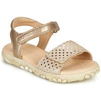 Topánky Dievčatá Sandále Geox SANDAL HAITI GIRL Béžová / Zlatá