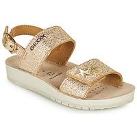 Topánky Dievčatá Sandále Geox SANDAL COSTAREI GI Zlatá