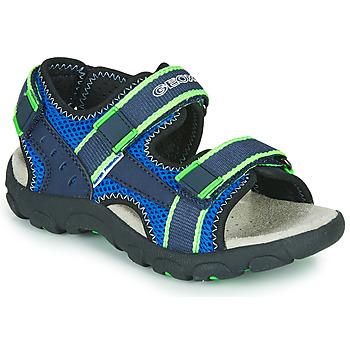 Topánky Chlapci Športové sandále Geox JR SANDAL STRADA Modrá / Zelená
