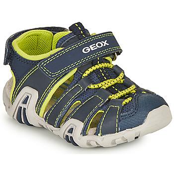 Topánky Chlapci Športové sandále Geox SANDAL KRAZE Námornícka modrá / Zelená limetková