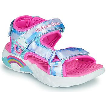 Topánky Dievčatá Športové sandále Skechers RAINBOW RACER Strieborná / Ružová