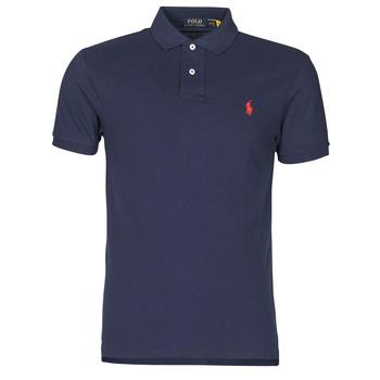 Oblečenie Muži Polokošele s krátkym rukávom Polo Ralph Lauren POLO CINTRE SLIM FIT EN COTON BASIC MESH LOGO PONY PLAYER Námornícka modrá