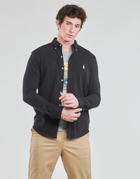 Oblečenie Muži Košele s dlhým rukávom Polo Ralph Lauren CHEMISE AJUSTEE COL BOUTONNE EN POLO FEATHERWEIGHT LOGO PONY PLA Čierna