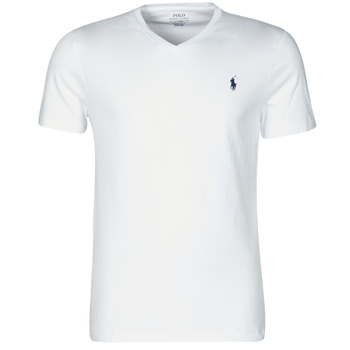 Oblečenie Muži Tričká s krátkym rukávom Polo Ralph Lauren T-SHIRT AJUSTE COL V EN COTON LOGO PONY PLAYER Biela