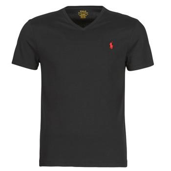Oblečenie Muži Tričká s krátkym rukávom Polo Ralph Lauren T-SHIRT AJUSTE COL V EN COTON LOGO PONY PLAYER Čierna