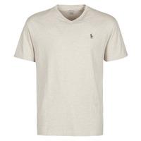Oblečenie Muži Tričká s krátkym rukávom Polo Ralph Lauren T-SHIRT AJUSTE COL V EN COTON LOGO PONY PLAYER Béžová