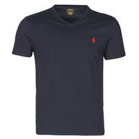 Oblečenie Muži Tričká s krátkym rukávom Polo Ralph Lauren T-SHIRT AJUSTE COL V EN COTON LOGO PONY PLAYER Modrá