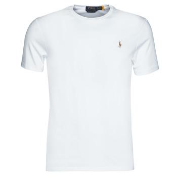 Oblečenie Muži Tričká s krátkym rukávom Polo Ralph Lauren T-SHIRT AJUSTE COL ROND EN PIMA COTON LOGO PONY PLAYER MULTICOLO Biela
