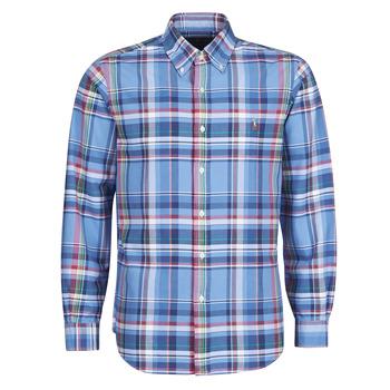 Oblečenie Muži Košele s dlhým rukávom Polo Ralph Lauren CHEMISE AJUSTEE EN OXFORD COL BOUTONNE  LOGO PONY PLAYER MULTICO Viacfarebná