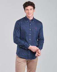 Oblečenie Muži Košele s dlhým rukávom Polo Ralph Lauren CHEMISE AJUSTEE EN LIN COL BOUTONNE  LOGO PONY PLAYER Modrá
