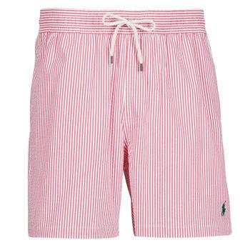 Oblečenie Muži Plavky  Polo Ralph Lauren MAILLOT SHORT DE BAIN RAYE SEERSUCKER CORDON DE SERRAGE ET POCHE Červená / Biela
