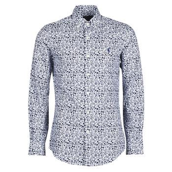 Oblečenie Muži Košele s dlhým rukávom Polo Ralph Lauren CHEMISE CINTREE SLIM FIT EN POPLINE DE COTON COL BOUTONNE LOGO P Modrá